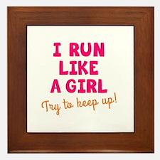 Cute Running girl Framed Tile