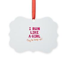 Cute Girls on the run Ornament