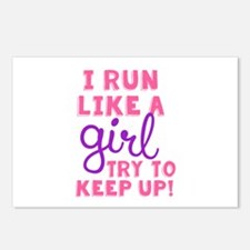 Unique I run like a girl try to keep up Postcards (Package of 8)