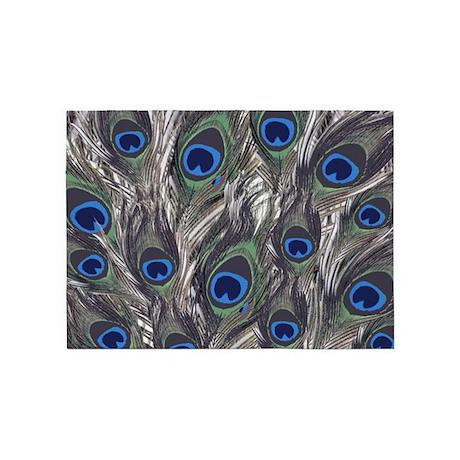 Blue Peacock Pattern 5 X7 Area Rug By Joysdesignershop
