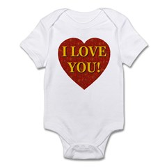 I Love You Red Coral Heart Infant Bodysuit