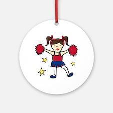 Cheerleader Girl Ornament (Round)