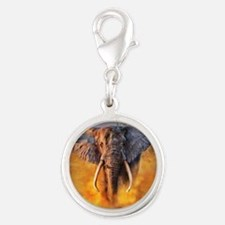 Angry Elephant Silver Round Charm