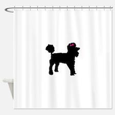 Black Poodle Shower Curtain