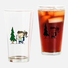 Backpacking Girl Drinking Glass