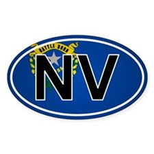 Nv - Nevada Oval Car Sticker Flag Design