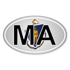 Ma - Massachusetts Oval Car Sticker Flag Design