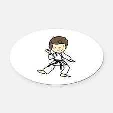 Karate Boy Oval Car Magnet
