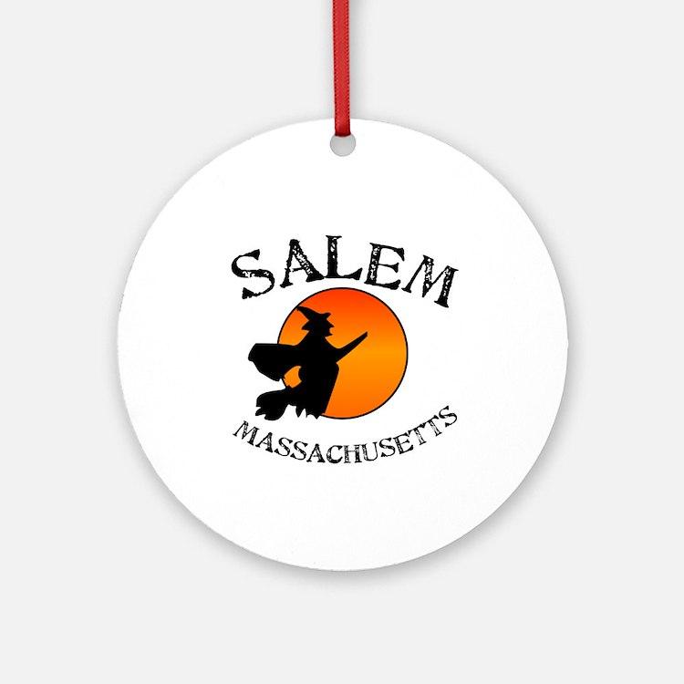 Salem Massachusetts Witch Ornament (Round)