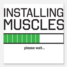 """Installing muscles Square Car Magnet 3"""" x 3"""""""