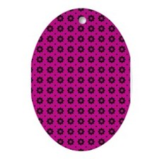 Pink and Black Floral Pattern Ornament (Oval)