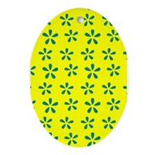 Yellow Modern Flowers Ornament (Oval)