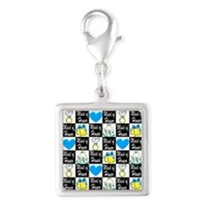 MAID OF HONOR LOVE Silver Square Charm
