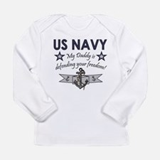 NAVY Daddy defending freedom Long Sleeve T-Shirt