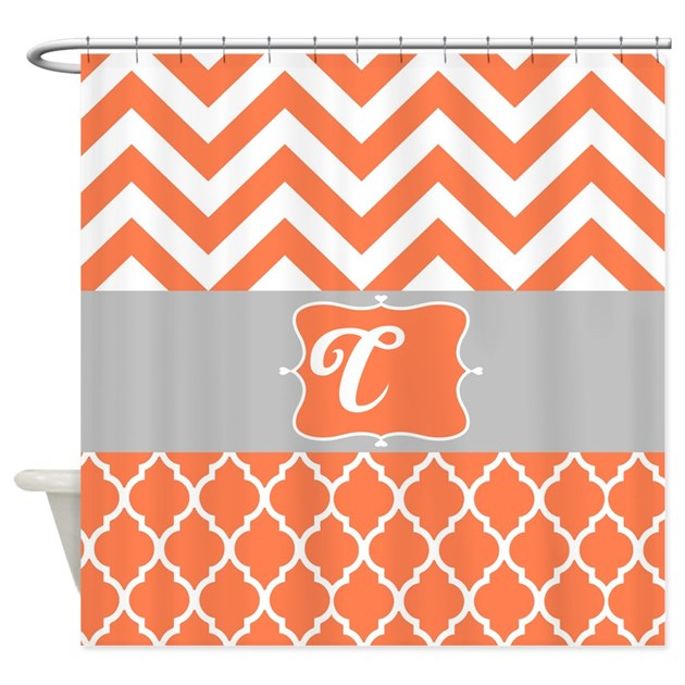Coral And Gray Design Shower Curtain By Laughoutlouddesigns1