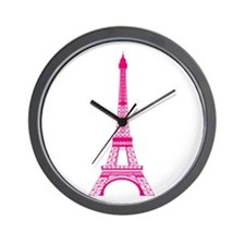 Hot Pink Eiffel Tower Wall Clock