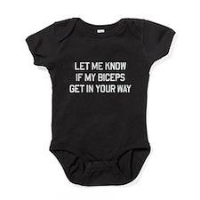 Let me know biceps in way Baby Bodysuit