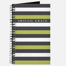Green Grey Bold Striped Pattern Journal