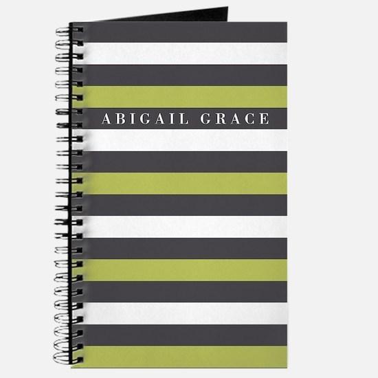 Green Grey Bold Striped Pattern Journal