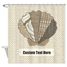 Customizable Scallop Seashell Fabric Collage Showe