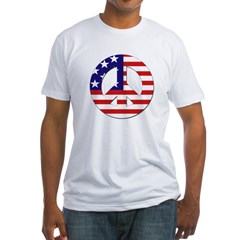 American Flag Peace Sign Fitted T-Shirt