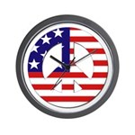 American Flag Peace Sign Wall Clock