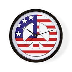 American Flag Peace Sign Wall Clock
