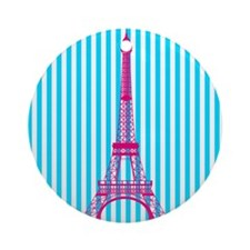 Pink Eiffel Tower on Teal Stripes Ornament (Round)