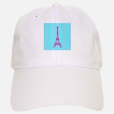 Pink Eiffel Tower on Teal Stripes Baseball Baseball Baseball Cap