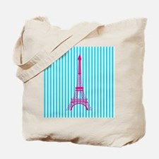 Pink Eiffel Tower on Teal Stripes Tote Bag
