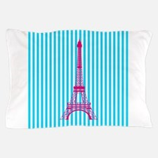 Pink Eiffel Tower on Teal Stripes Pillow Case