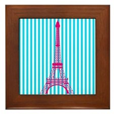 Pink Eiffel Tower on Teal Stripes Framed Tile
