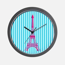Pink Eiffel Tower on Teal Stripes Wall Clock