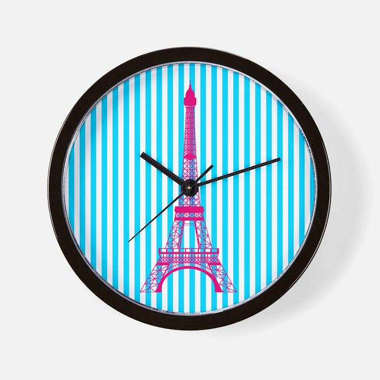 Pink Eiffel Tower on Teal Stripes Wall Clock
