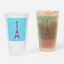 Pink Eiffel Tower on Teal Stripes Drinking Glass