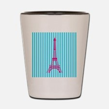 Pink Eiffel Tower on Teal Stripes Shot Glass