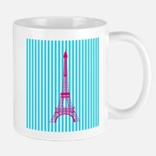 Pink Eiffel Tower on Teal Stripes Mugs