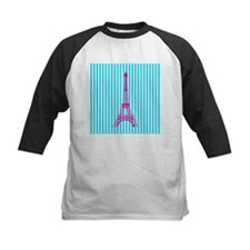 Pink Eiffel Tower on Teal Stripes Baseball Jersey