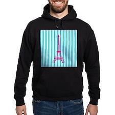 Pink Eiffel Tower on Teal Stripes Hoodie