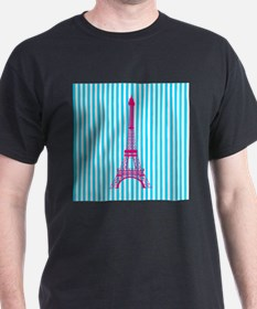 Pink Eiffel Tower on Teal Stripes T-Shirt
