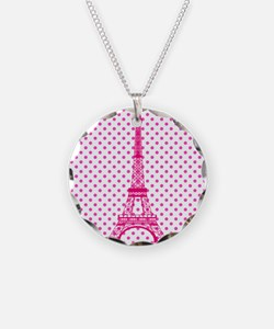 Hot Pink Eiffel Tower Polka Dots Necklace