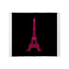 Hot Pink Eiffel Tower on Black Throw Blanket