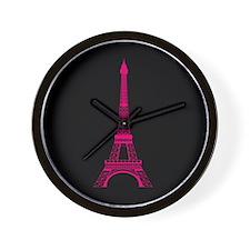 Hot Pink Eiffel Tower on Black Wall Clock