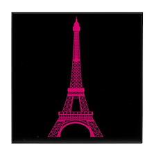 Hot Pink Eiffel Tower on Black Tile Coaster