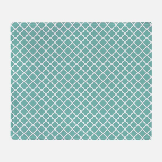 Tiffany Blue & White Moroccan Patter Throw Blanket