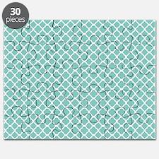 Tiffany Blue & White Moroccan Pattern Puzzle