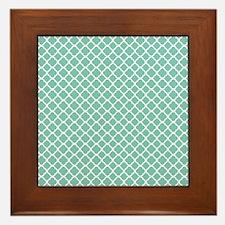 Tiffany Blue & White Moroccan Pattern Framed Tile