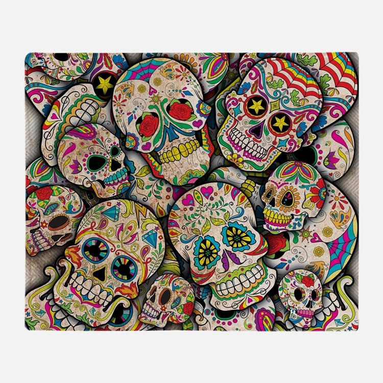 Cute Sugar skulls Throw Blanket