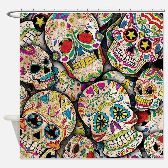 Cool Sugar skull Shower Curtain