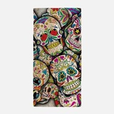 Cute Day of the dead skulls Beach Towel